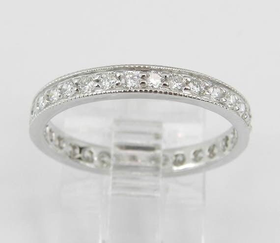 Diamond Eternity Wedding Ring Anniversary Band 14K White Gold Size 5.75 G-VS
