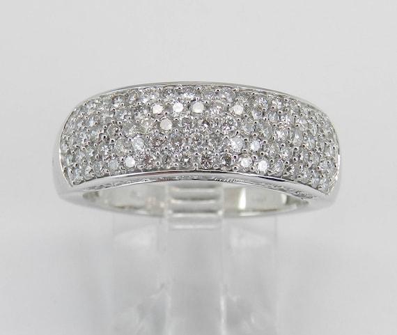 1.00 ct Diamond Wedding Ring Anniversary Band Pave Set White Gold Size 7