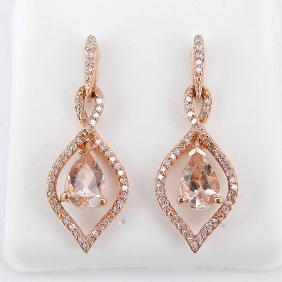 Morganite and Diamond Dangle Drop Earrings 14K Rose Pink Gold Unique Gemstone Gift