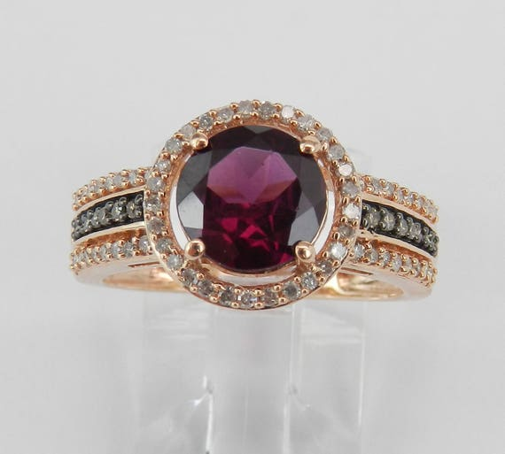 Rhodolite Garnet and Diamond Halo Engagement Ring Rose Gold Size 7 January Gemstone