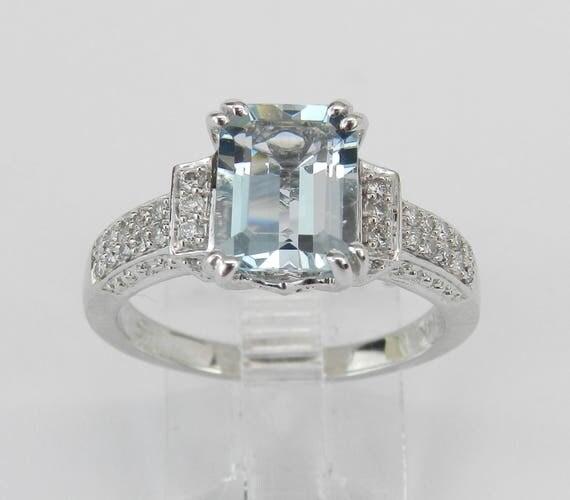 14K White Gold Diamond and Aquamarine Engagement Ring Emerald-Cut Aqua Size 7 March Gemstone