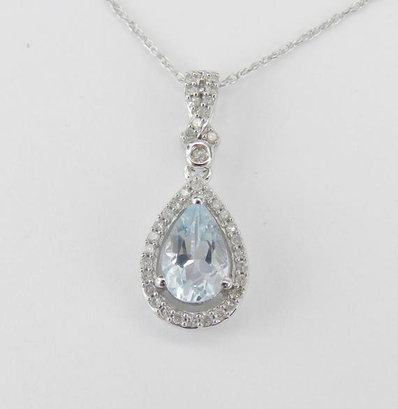"Diamond and Aquamarine Halo Pendant Unique Necklace White Gold 18"" Chain Aqua March Gemstone"