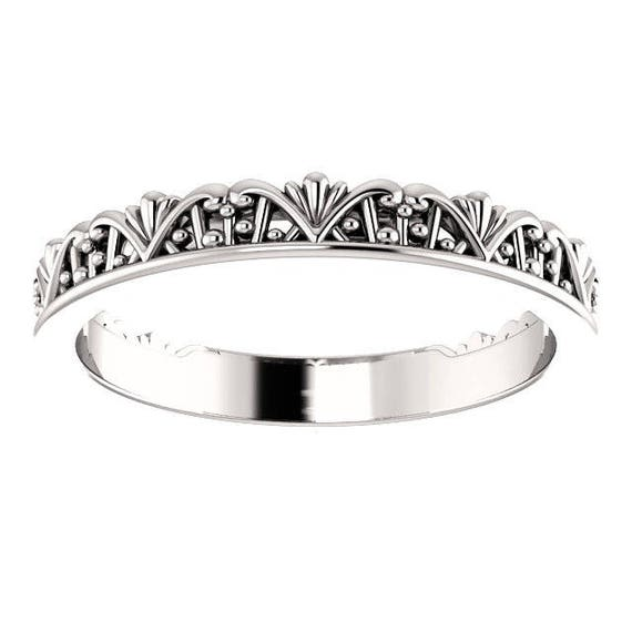 14K White Yellow Rose Gold Vintage-Inspired Stackable Ring Wedding Anniversary Band