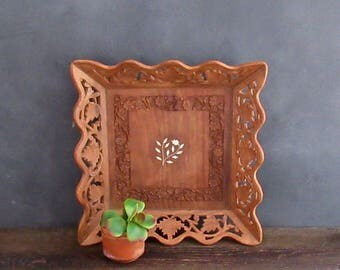 Inlay Wood Tray, Hand Carved Wooden Tray, Vintage Serving Tray, Boho Style