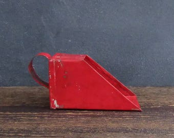 Red Primitive Tin Scoop, Tiny Handmade Tin Scoop, Grain Scoop, Farmhouse Decor, FREE SHIPPING