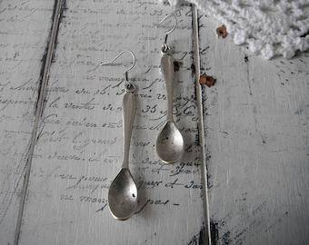 spoon ear rings silver spoons chronic pain awareness spoon earrings tarnished spoon aged spoon fish hook style
