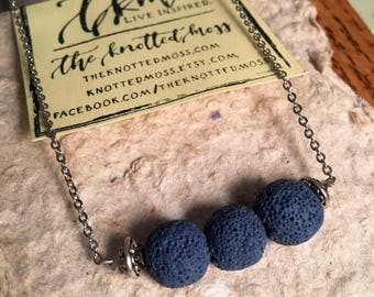 Essential Oil Diffuser Necklace | Blue Lava Stone & Stainless Steel Necklace