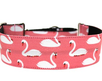"Swan Dog Collar 2"" wide Martingale Dog Collar for Large Breed Dogs Bow Dog Collar"