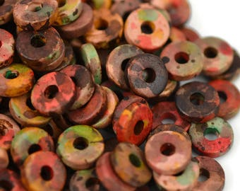 Mykonos 8mm Washer Round - Autumn Rust - Greek Ceramic Beads - QTY: 50, 100 or 150
