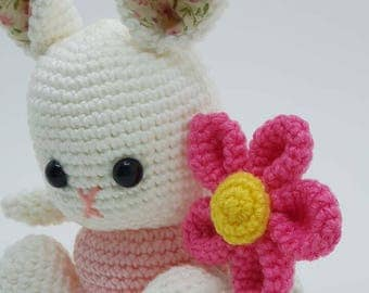 Cotton yarn bunny,  crochet doll, amigurumi,  ready to ship