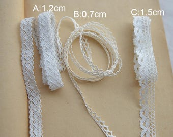 30 meter 0.7-1.5cm wide ivory/white  fabric tapes lace trim ribbon V9E451K0524L free ship