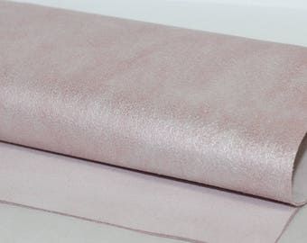 New  Powder Pink Genuine Leather, Pale Pink Metallic Leather, Pearl Pink Cowhide