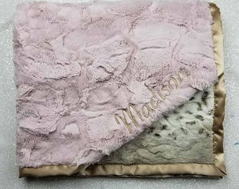 Embroidered Minky Blanket, Blanket with name, Personalized Blanket Baby Gift, Pink and Gold Vintage Pink, arctic animal print luxe rosewater