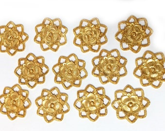 Brass Flowers,12 Piece, Open Edge Flowers, Beading Flowers, Gold Plate, Jewelry Making, Bsue Boutiques, US Made, Nickel Free, 21mm,Item03440