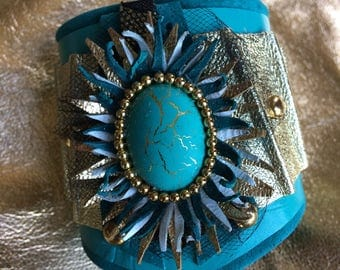 Turquoise and Gold Leather Cuff. S/S 2018