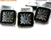 ON SALE 8pc Black Square beads, Czech glass beads, picasso finish, table cut, carved squares - 10mm - 8Pc - 2792