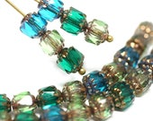 Green Blue beads mix Green cathedral czech beads Blue glass beads Golden ends fire polished round 6mm - 20Pc - 0688