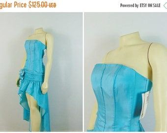 B-DAY SALE Vintage Dress 80s Prom Dress Gunne Sax by Jessica McClintock Shimmering Turquoise Blue High Low New With Tags Nwt Deadstock Size