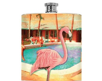 Flamingo Flask Kitschy Drinking Gifts Liquor Bridesmaid Girl Hip Flask Wedding Personalized Las Vegas Pool Summer Party 6oz Sun Lady Rene