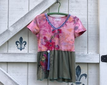 Pink hippie top, S-M, knit floral top, pink olive green, Embellished top Upcycled clothing