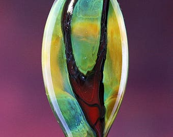 Abstract Sunrise Handmade Lampworked Glass Bead OOAK Red Green Blue Amber Focal Shield Iridescent Lampwork