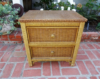 Wicker Nightstand, Boho Chic Nightstand, End Table