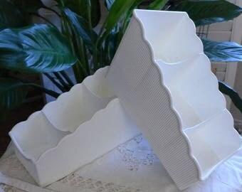 Tupperware Drawer Organizer Storage Seasoning Packets 3 Tiered 3495 White Scalloped Organizer Set of 2 Bath Decor Desk Storage
