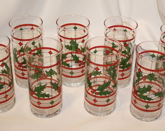Holly & Berries Frosted Windowpane Tumblers, Christmas Glasses, Set of 8, Libbey Glass Company, 1990s