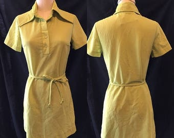 Vintage Summer Sale 1970 Mod lime green mini work dress small medium women's