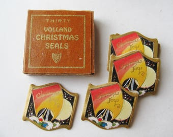 Vintage NOS 20s Art Deco Volland Christmas Card Seals Deadstock in Package
