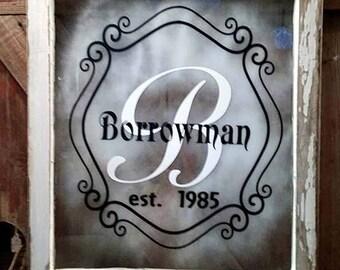 Personalized decal - Established sticker - Anniversary gift - DIY Crafts - Vintage Window Decal - Wedding Decor - Bridal Shower Gift Idea