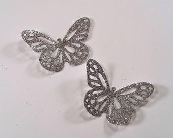 "Glittered Butterflies, Large ~ 1.75"" Hand-Glittered Monarch Butterflies, Butterfly Party, Wedding Decor, Craft Supply, Ornament, Photo Prop"