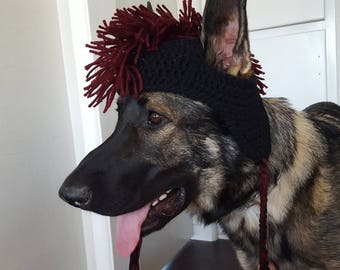 Crochet Dog Hat with Mohawk, Warm Dog Hat, Fur Baby Gift, Cute Dog Hat by Just For Doggy With Love - Black & Burgundy