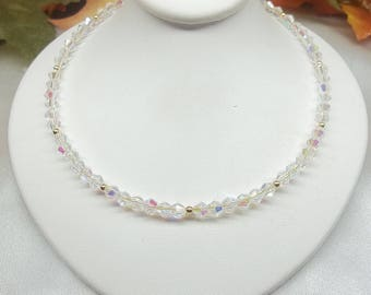 Clear Crystal Necklace 14Kt Gold Necklace Clear Necklace 14k Gold Filled Necklace or Solid 14kt Gold Necklace Adjustable BuyAny3+Get1 Free