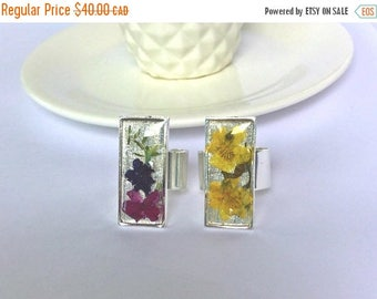 SALE Silver Real Flower Ring, Large Rectangle Pressed Flower Resin Ring, Floral Statement Ring, Purple/Pink Flower Ring, Yellow Flower Ring