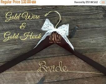LOVE SALE Wedding Monogram Hanger, Bride Hanger, Engraved Bridal Hanger, Monogram Wedding Hanger, Rustic Wedding, Gold Wire Hanger, Monogram