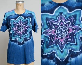 70s Psychedelic Tie Dye Blue Acid Trip Lot Tee T Shirt