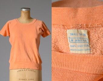 60s Sweatshirt Orange Cotton Short Sleeve Montgomery Ward Athletic Sweatshirt