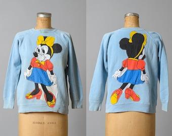 1960s Minnie Mouse Handmade Blue Cotton Sweatshirt