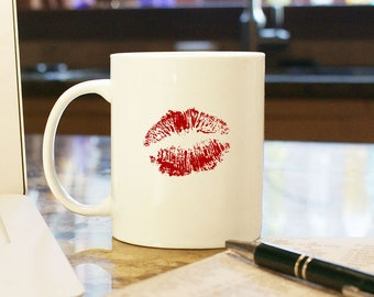 Red Lipstick Kiss Valentines Day Gift Present Home Decor 11 oz White Coffee Mug Cup Boyfriend Girlfriend Husband Wife Smack