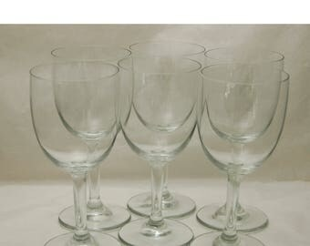"Vintage C 1960s 6 CRYSTAL WINE GLASSES - 6 3/4"" T Excellent Like New Condition, Bowl 3 1/4""T x 2 15/16"" di."