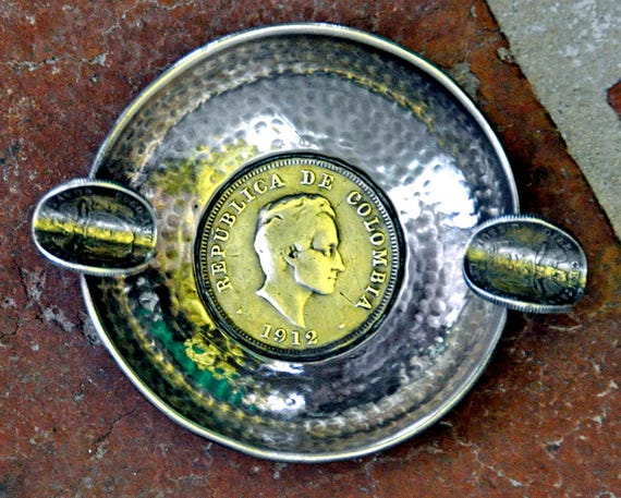 Vintage Handmade SILVER ASHTRAY From COLOMBIA, South American ~ 3 Silver Coins Ca 1941, Simon Bolivar on Coins, Exc. Condition