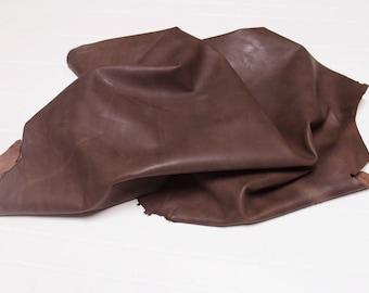 Italian Lambskin Lamb leather skin skins hide hides WAXY BROWN DISTRESSED 6sqf #A2398