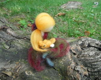 Needle Felted Doll - Waldorf Inspired - Girl Holding Cat