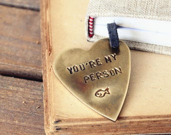 You're my person bookmark, Personalized bookmark, retro stamped , valentine's day gift, lover gift ,Anniversary gift
