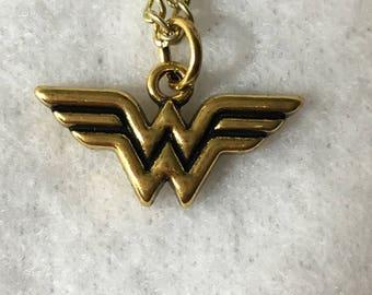 Wonder Woman Charm Necklace - Gold Tone - DC Comics - Diana - Amazon - Comic Books - Comicon - Summer - Graduation - Teacher - Girl Power