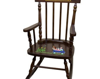 Personalized Espresso Childrens Rocking Chair with Blue Farm Truck Design-spin-esp-244