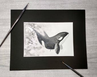 Irridesant Orca Watercolor Original Art