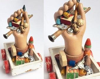 the PICKER (10), original mixed media assemblage, found object art, vintage flea market collection, by Elizabeth Rosen