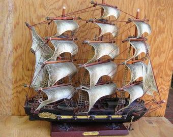 Vintage model boat, ,model ship, sailing ship, nautical decor